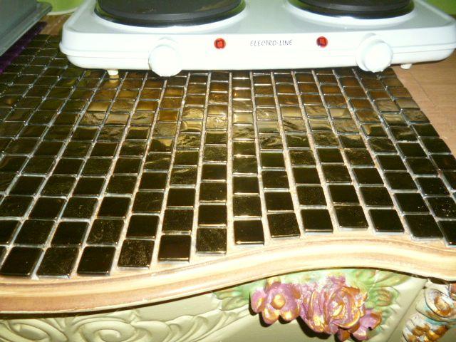 Mozaika szklana złota jako blat kuchenny