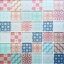 Mozaika szklana Patchwork Pink 30x30