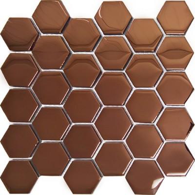 Mozaika Szklana Heksagony Miedziane 48