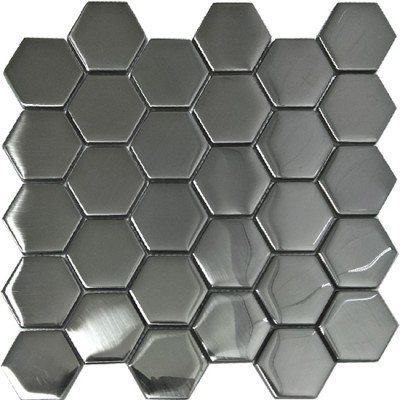 Mozaika Szklana Heksagony Srebrna Mat 48